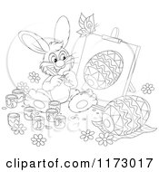 Cartoon Of An Outlined Easter Bunny Painting An Egg On An Easel Royalty Free Vector Clipart