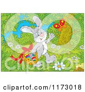 Cartoon Of A Gray Easter Bunny Waving And Carrying Eggs In A Basket Through The Woods Royalty Free Vector Clipart