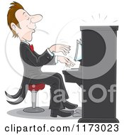 Cartoon Of A Pianist Playing Music At A Concert Royalty Free Vector Clipart