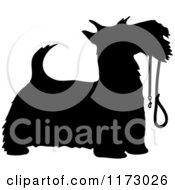 Cartoon Of A Silhouetted Scotty Dog With A Leash In His Mouth Royalty Free Vector Clipart