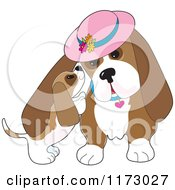 Cartoon Of A Basset Hound Puppy Whispering In His Moms Ear Royalty Free Vector Clipart