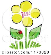 Cartoon Of A Yellow Spring Flower And Ladybug Royalty Free Vector Clipart by Maria Bell
