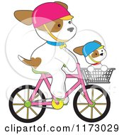 Cartoon Of A Cute Dogs Riding On A Bicycle And In A Basket Royalty Free Vector Clipart by Maria Bell