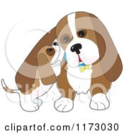 Cartoon Of A Basset Hound Puppy Whispering In His Dads Ear Royalty Free Vector Clipart