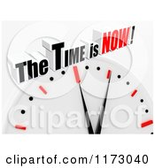 Clipart Of A 3d Clock With Time Is Now Text On Gray Royalty Free CGI Illustration