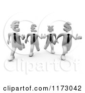 3d White World Currency Businessmen Racing
