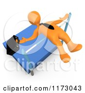 3d Orange Businessman Doing A High Jump With A Briefcase