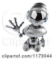Clipart Of A 3d Silver Male Techno Robot Looking Up And Waving Royalty Free CGI Illustration