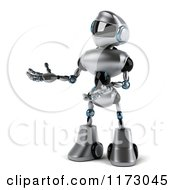 Clipart Of A 3d Silver Male Techno Robot Presenting Royalty Free CGI Illustration