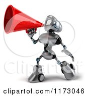 Clipart Of A 3d Silver Male Techno Robot Using A Megaphone Royalty Free CGI Illustration