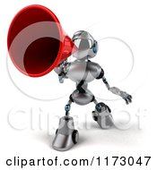 Clipart Of A 3d Silver Male Techno Robot Using A Megaphone 2 Royalty Free CGI Illustration