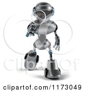 Clipart Of A 3d Silver Male Techno Robot Using A Magnifying Glass 3 Royalty Free CGI Illustration