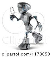 Clipart Of A 3d Silver Male Techno Robot Using A Magnifying Glass 2 Royalty Free CGI Illustration