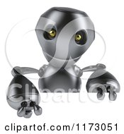 Clipart Of A 3d Silver Robot Mascot Pointing Down At A Sign Royalty Free CGI Illustration