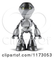 Clipart Of A 3d Silver Robot Mascot Standing Royalty Free CGI Illustration by Julos