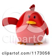 Clipart Of A 3d Chubby Red Bird Pointing To The Left Royalty Free CGI Illustration