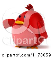 Clipart Of A 3d Chubby Red Bird Pointing To The Left 2 Royalty Free CGI Illustration