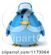 Clipart Of A 3d Chubby Blue Bird Wearing A Hat Royalty Free CGI Illustration