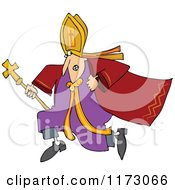 Cartoon Of A Scared Pope Running Royalty Free Vector Clipart