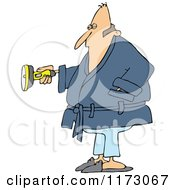 Cartoon Of A Man In A Robe Shining A Flashlight Royalty Free Vector Clipart
