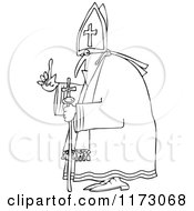 Cartoon Of An Outlined Pope Holding Up A Finger Royalty Free Vector Clipart