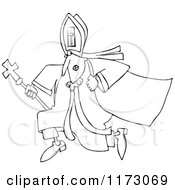 Cartoon Of An Outlined Pope Running Royalty Free Vector Clipart