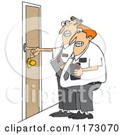 Cartoon Of Nervous Missionaries Ringing A Door Bell Royalty Free Vector Clipart