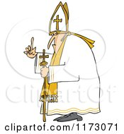 Cartoon Of A Pope Holding Up A Finger Royalty Free Vector Clipart
