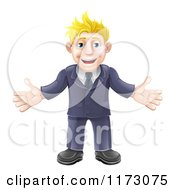 Cartoon Of A Welcoming Blond Businessman In A Blue Suit Royalty Free Vector Clipart by AtStockIllustration