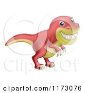 Red And Yellow T Rex Dinosaur Grinning