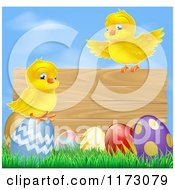 Cartoon Of A Wooden Sign With Chicks And Easter Eggs Against Blue Sky Royalty Free Vector Clipart