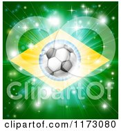 Clipart Of A Soccer Ball Over A Brazilian Flag With Fireworks Royalty Free Vector Illustration