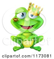 Cartoon Of A Smitten Frog Prince With A Lipstick Kiss On His Cheek Royalty Free Vector Clipart