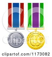 Gold And Silver Military Style Medals On Striped Ribbons