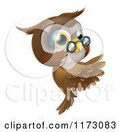 Cartoon Of An Owl Wearing Glasses And Presenting A Sign Royalty Free Vector Clipart by AtStockIllustration