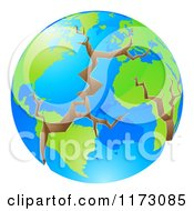 Cartoon Of A Cracking World In Crisis Royalty Free Vector Clipart