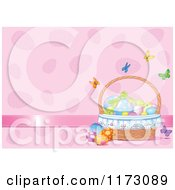 Cartoon Of Butterflies Fluttering Around A Basket Of Easter Eggs On Pink Royalty Free Vector Clipart