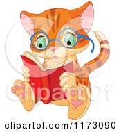 Cartoon Of A Cute Ginger Cat Wearing Glasses And Reading A Book Royalty Free Vector Clipart by Pushkin
