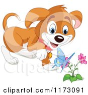 Cartoon Of A Puppy Watching A Spring Butterfly On A Flower Royalty Free Vector Clipart
