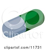 Green And Gray Capsule Pill Clipart Illustration