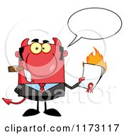 Cartoon Of A Talking Devil Businessman Smoking A Cigar And Holding A Burning Contract Royalty Free Vector Clipart by Hit Toon