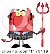 Cartoon Of A Devil Businessman With A Pitchfork Royalty Free Vector Clipart by Hit Toon