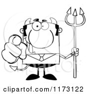 Cartoon Of A Black And White Devil Businessman Pointing Outwards And Holding A Pitchfork Royalty Free Vector Clipart