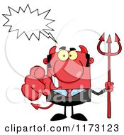 Cartoon Of A Talking Devil Businessman Pointing Outwards And Holding A Pitchfork Royalty Free Vector Clipart