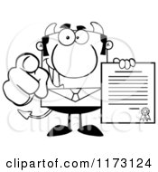 Cartoon Of A Black And White Devil Businessman Pointing Outwards And Holding A Contract Royalty Free Vector Clipart by Hit Toon