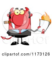 Cartoon Of A Devil Businessman Smoking A Cigar And Holding A Burning Contract Royalty Free Vector Clipart by Hit Toon