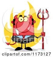 Cartoon Of A Devil Businessman With A Pitchfork And Flames Royalty Free Vector Clipart by Hit Toon