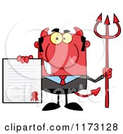 Cartoon Of A Devil Businessman Holding A Contract And Pitchfork Royalty Free Vector Clipart by Hit Toon