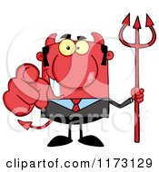 Cartoon Of A Devil Businessman Pointing Outwards And Holding A Pitchfork Royalty Free Vector Clipart by Hit Toon