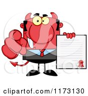 Cartoon Of A Devil Businessman Pointing Outwards And Holding A Contract Royalty Free Vector Clipart